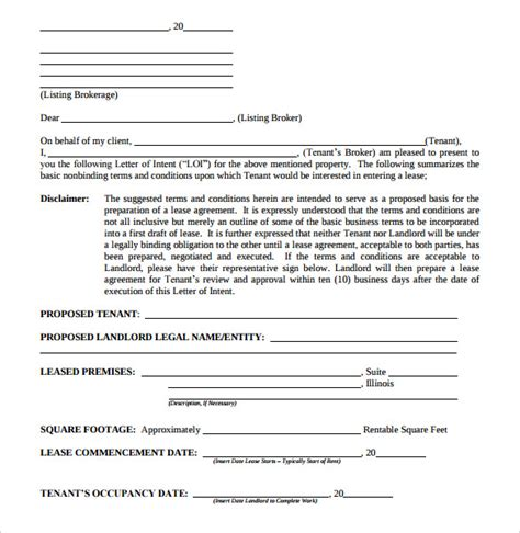 Letter Of Offer For Commercial Lease lease letter commercial real estate letter of