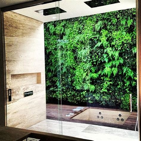 garden bathroom ideas private indoor shower with vertical garden view