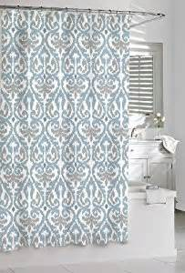Blue And Grey Shower Curtains Shower Curtain Kassatex Scrolled Ikat Blue Grey White 72 X 72 Cotton Co Uk Kitchen Home
