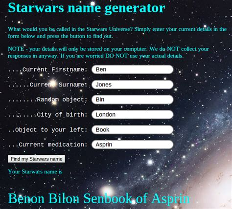 what s your wars name markweinguitarlessons image gallery jedi name generator
