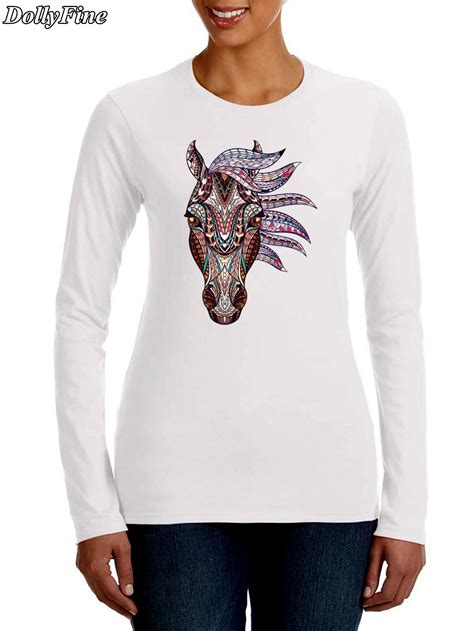 design t shirt long sleeve 2016 new arrival women s fashion color horse design t