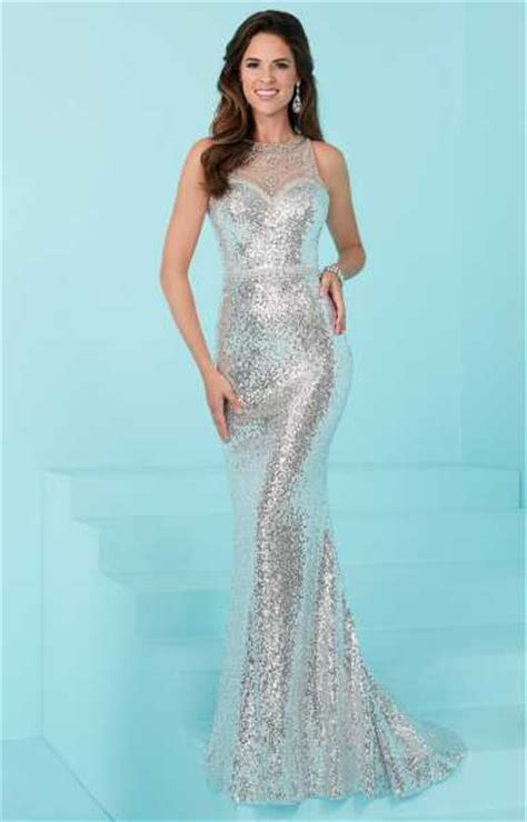 liquid beaded evening gowns designs 16220 illusion neckline liquid sequin