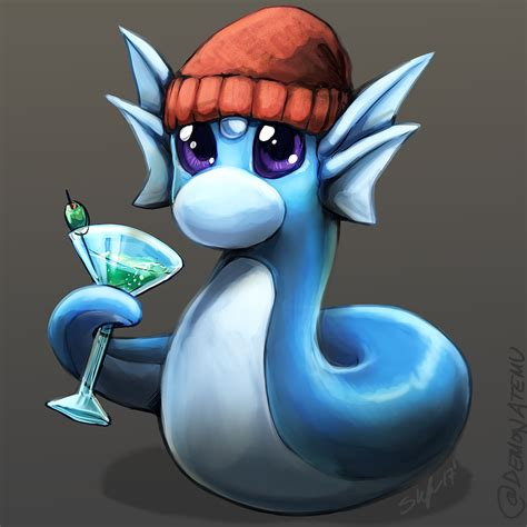 martini dratini a dratini in a beanie drinking a martini by