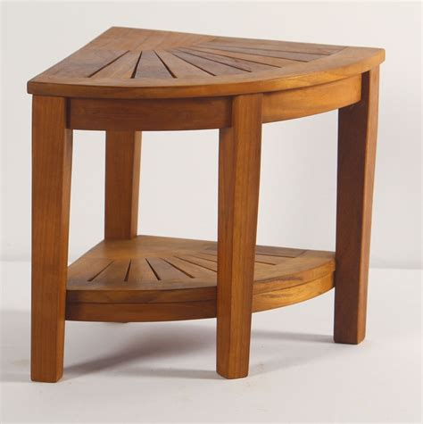 Teak Corner Shower Stool by Spa Teak Corner Shower Stool With Shelf