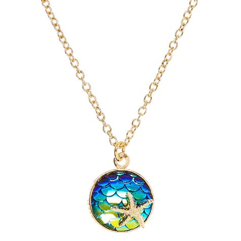 Mermaid Necklace gold tone circle mermaid scale with starfish pendant