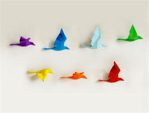 Papercraft Bird - papercraft sculptures rainbow birds in flight