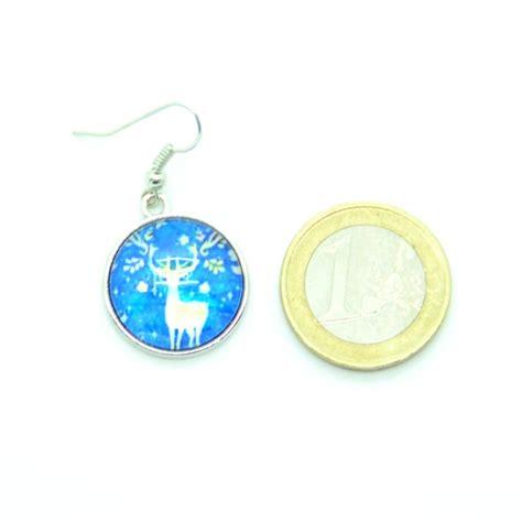 boucles d oreilles cabochon en verre le cerf bleu bfpvm009