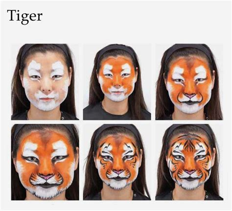 2 Add the orange basecoat of fur, then stipple it into the ... Realistic Tiger Makeup
