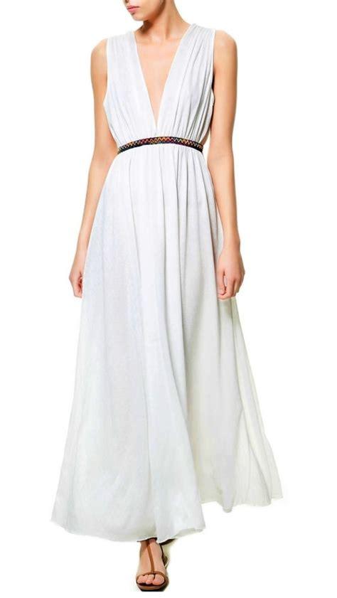Zahra Maxy Dress zara ivory white grecian maxi dress with embroidered