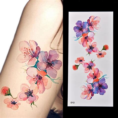 henna tattoo stickers watercolor orchid arm diy sticker decal blossom