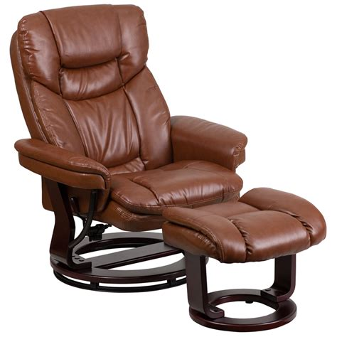 Leather Recliner With Footstool by Brown Vintage Leather Recliner And Ottoman With Swiveling Mahogany Wood Base Bt