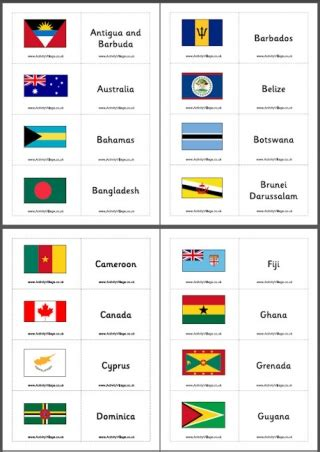 printable flash cards flags of the world commonwealth printables