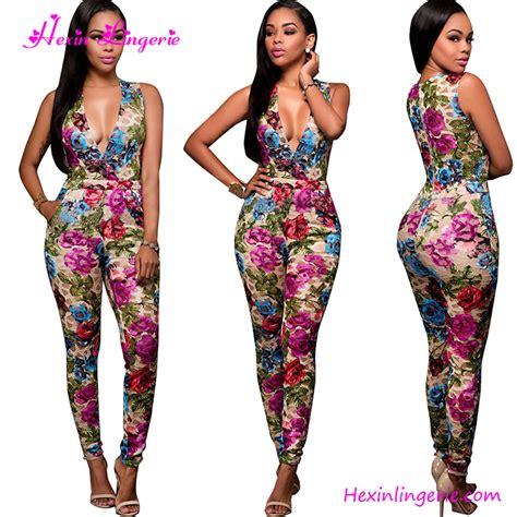 Jumpsuit Jeny V Neck womens clubwear floral v neck sleeveless printed