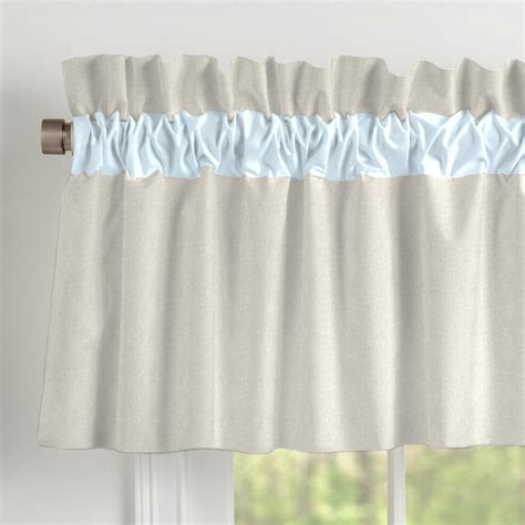 Window Valance Light Blue Linen Window Valance Rod Pocket Carousel Designs