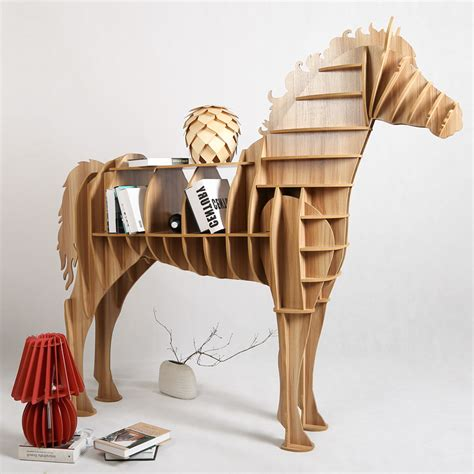 1 set 62*69 Inch Home Decor Wooden Horse Art Desk Creative Horse Statue Wood Crafts For Living