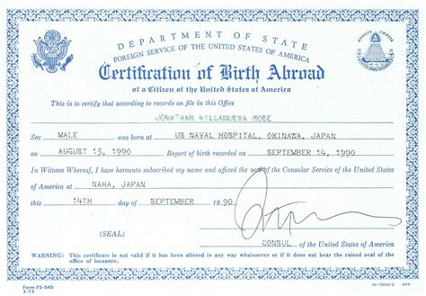 Consular Record Of Birth Abroad Form I 9 Acceptable Documents Uscis