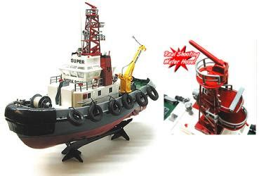 reel fire boat rc tugboat with shooting water hose remote control seaport