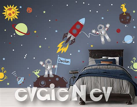 outer space wall stickers custom flag name outer space wall decals with astronauts and