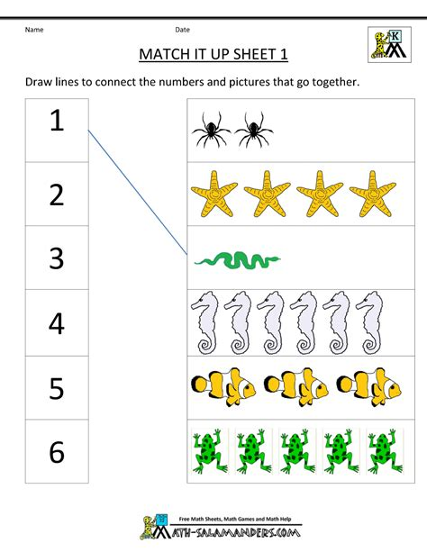 Math Free Worksheets by Math Worksheets Kindergarten