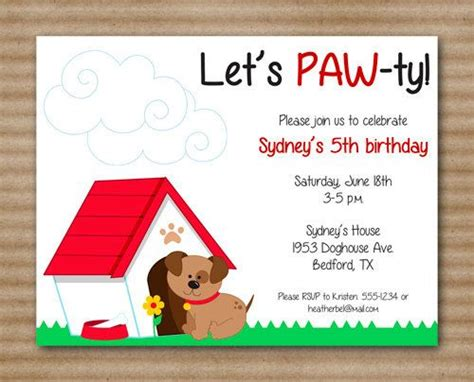 Birthday Card Template For Dogs by Birthday Invitation Puppy Birthday By
