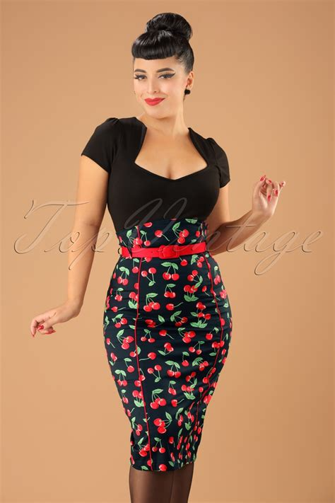 Pop Skirt 50s cherry pop pencil skirt in black