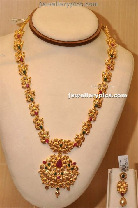 flower design haram manepalli gold haram design with stones latest jewellery