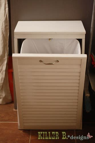 Kitchen Garbage Cabinet by Hometalk Tilt Out Trash Cabinet From Salvaged Shutter