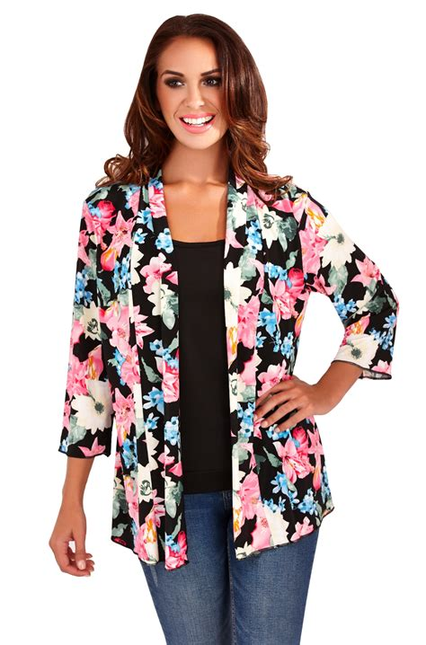 Flower Jaket P womens kimono boho cardigan cape floral summer jacket shirt blouse top ebay