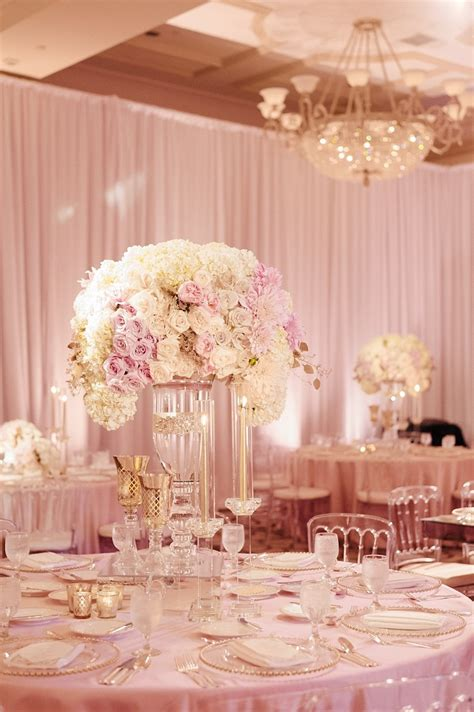 blush pink wedding table decor glass vase wedding centerpiece filled in with white