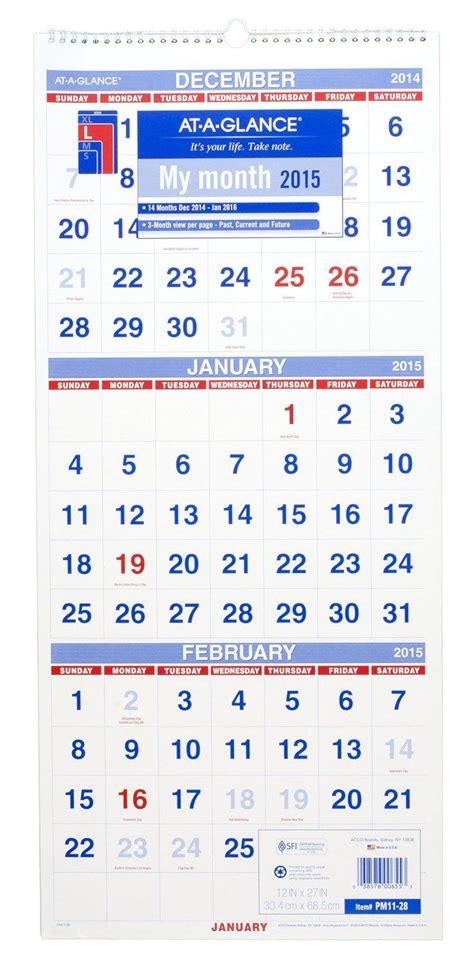 Calendar 3 Months At A Glance At A Glance Wall Calendar 2016 Three Month