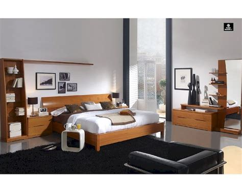 modern bed set modern bedroom set in light cherry finish made in spain 33b201