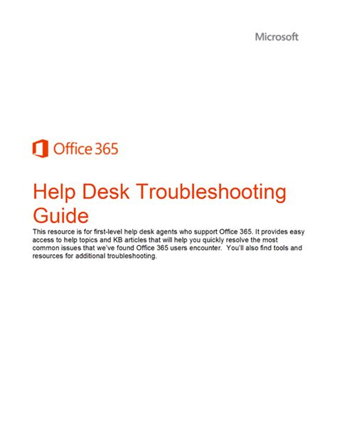 Office 365 Help Desk Whitepaper Office 365 Help Desk Troubleshooting Guide Kurt Shintaku S