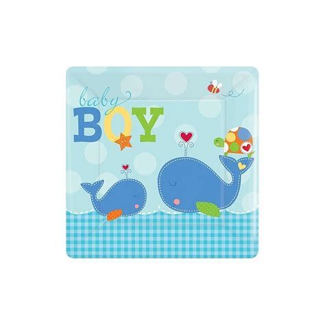 ahoy whale baby boy large plates ahoy whale baby shower