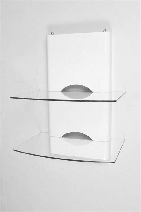 White Wooden Shelf Brackets White Wooden Dvd Bracket With 2 Clear Glass Shelves