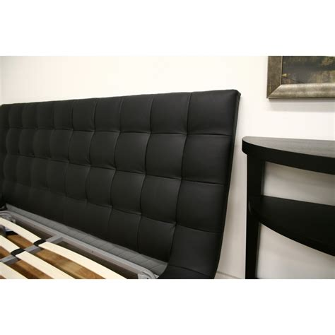 faux leather platform bed celia black faux leather queen platform bed see white