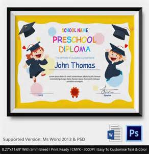 preschool graduation diploma template 11 graduation certificate templates word pdf documents