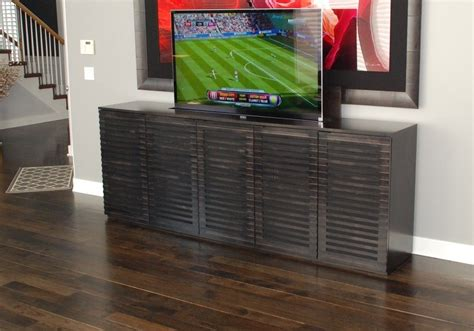 Custom Tv Lift Modern Cabinet by Belak Woodworking LLC