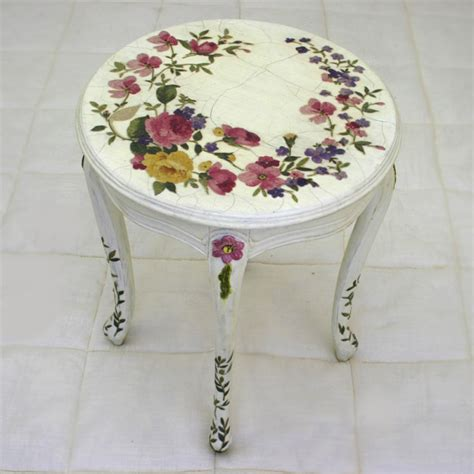 Decoupage Wood Table - n be louis xv decoupage side table