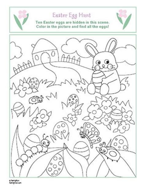easter egg hunt coloring page easter theme pinterest