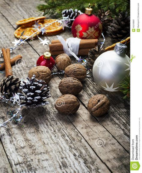 dry sticks decoration drone fly tours christmas decoration with baubles walnuts stock photo
