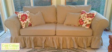 cozy cottage slipcovers classic cotton  ruffles