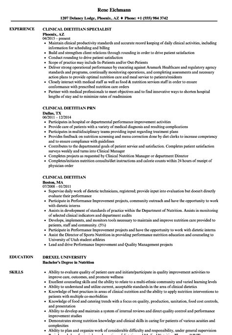 clinical dietitian resume sles velvet