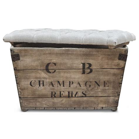 wood crate ottoman reims french country aged wood light grey storage crate