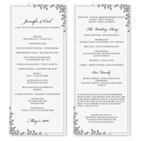 free wedding program template word 9 best images of wedding program templates microsoft word