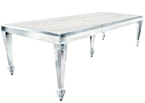 acrylic dining room table omg lucite stone dining table w stainless steel tipped