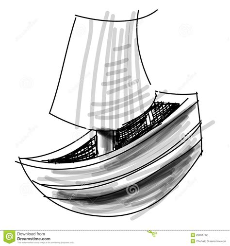 how to draw a boat on shore boat with sail sketch vector illustration stock vector