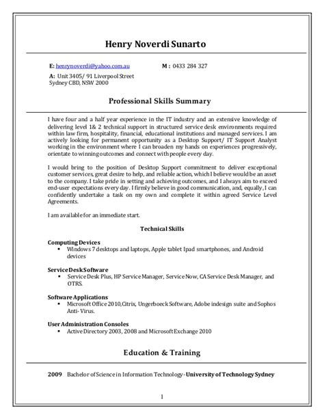desktop support resume resume format pdf