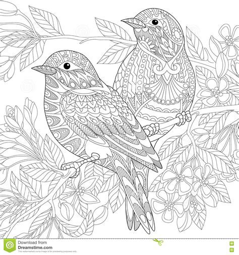 anti stress coloring book philippines price zentangle stylized birds stock vector image 79038706