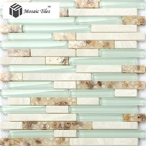 glass tile for kitchen backsplash tst glass conch beach style mother of pearl shell resin