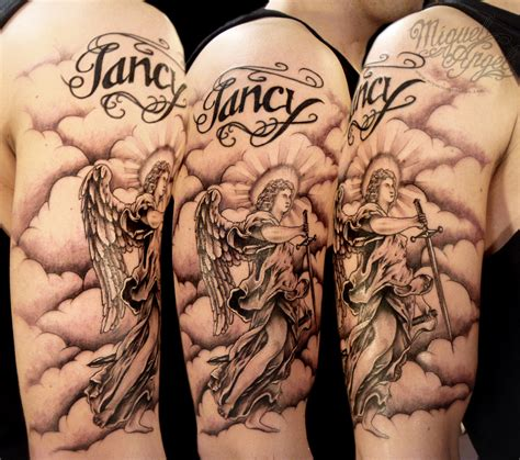 angel and clouds tattoo designs and clouds and touch up name miguel